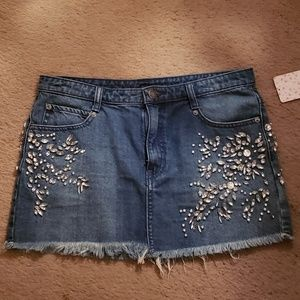 Free People Embellished Jean Skirt